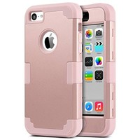 5C Case,iPhone 5C Case,ULAK 3 in 1 Hard PC+Soft Silicone Hybrid Dust Scratch Shock Resistance Anti-slip Cover for iPhone 5C, Rose Gold