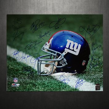 NY Giants Greats Multi Signed Helmet 16x20 Photo (16 Sig)