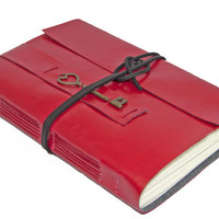 Large Red Faux Leather Journal with Heart Key Bookmark
