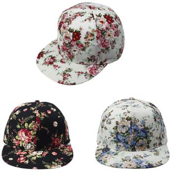Korean Women Baseball Caps Cotton fibre female Summer hats flower Floral girl cute Hip-Hop Hat Flat 3 colours Adjustable 31cm