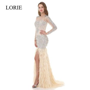 Pretty Women Ivory Mermaid Long Sleeve Prom Dresses 2018 LORIE R e2685f0c6b39