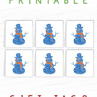 Printable Christmas Gift Tags, Frosty the Snowman Blue, Xmas Gift Tags, Party Favor Tags, Holiday Gift Labels, Christmas Hang Tag, To From