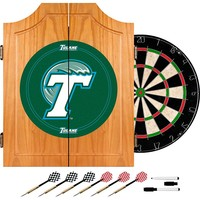 Tulane Green Wave Wood Dart Cabinet Set (Tle Team)