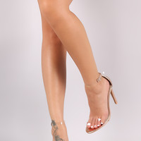 Clear Lucite Ankle Strap Open Toe Metallic Stiletto Heel