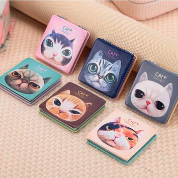 Makeup PU Mirrors Notebook Design Portable Pocket Mirror Fold Double Sides Compact Mirror