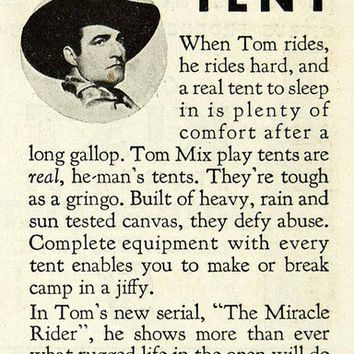 1935 Ad Canvas Products St Louis MO Camping Tent Tom Mix Cowboy Club Movie YAB2