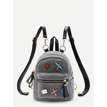 Airplane And Star Patch Backpack With Adjustable Strap