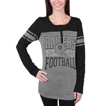 Oakland Raiders New Era Women's Tri-Blend Henley Long Sleeve T-Shirt - Gray/Black