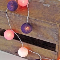 20 x vintage style pink purple cotton ball light lantern hanging living room bedroom light soft mix purple tone