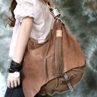 Tan snake embossed silver adornment light milky brown leather hobo bag round bag with tassel unique artistic sweetsmokebags boho oversized