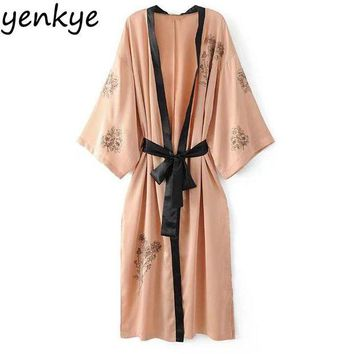 ONETOW European Style Women Satin Kimono V Neck Long Sleeve With Belt Casual  Embroidered Outerwear Plus Size Side Split Kimonos Long