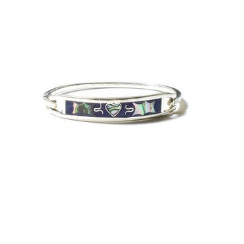 Sterling Silver Hinged Bracelet , Taxco Mexico , Abalone Shell Inlay  Bracelet