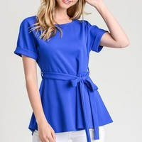 Short Sleeve Sash Top - Royal