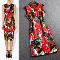 Red  Printed Sleeveless Sheath Midi Dress