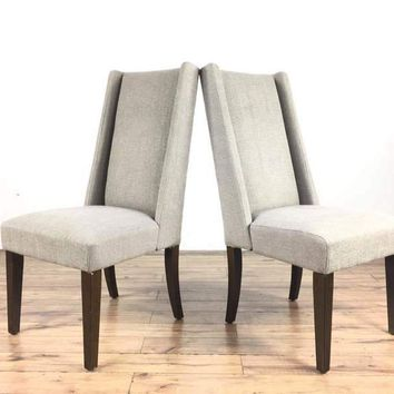 Pair of West Elm Gray Upholstered Side Chairs