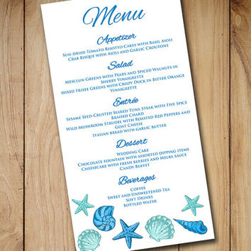 Beach Wedding Menu Template Instant Download Printable Menu Seashell Blue Lagoon Starfish Printable Wedding - DIY Wedding Menu Card Template