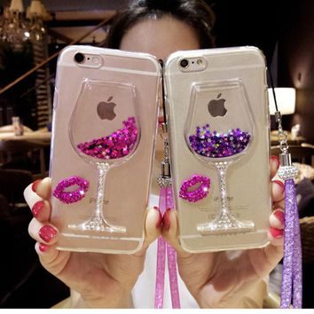 GREENSTRAW 3D Liquid Quicksand Bling Rhinestone Wine Glass Case For Samsung