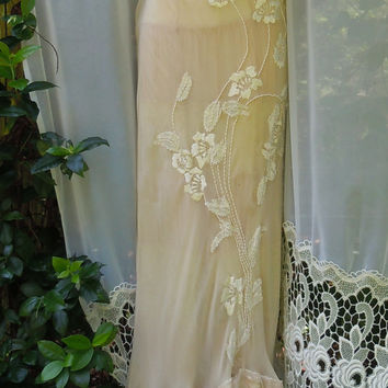 Cream flapper dress silk beading lace rose boho vintage  romantic small by vintage opulence on Etsy
