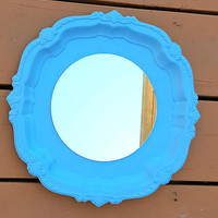 Blue Mirror Painted Silver Plate Upcycled Repurposed