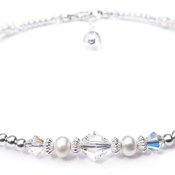 Handmade Sterling Silver Crystal Ankle Bracelets  | Birthstone Aquamarine March