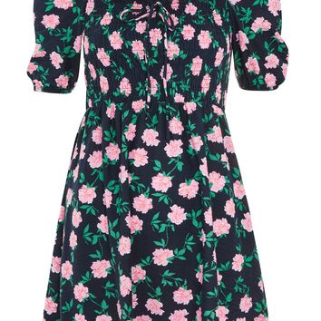 Floral Print Shirred Bardot Skater Dress | Topshop
