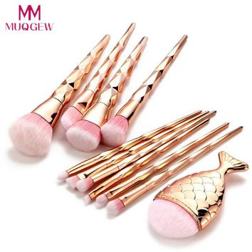 Diamond/ Rose Gold Mermaid Brush Set 11Pcs