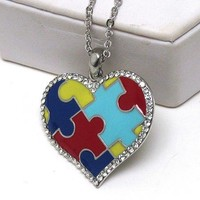 "[6 Pack] Support Autism Awareness Jewelry Puzzle Heart Pendant 18"" Necklace"