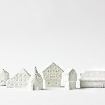 6 clay countryside houses architecture set - ceramic clay houses by Artisanie Europe - pure white home decor modern wedding favors