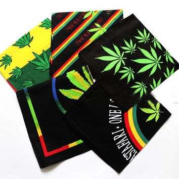 Rasta Style Reggae Music Leaves Cotton Bandana Men Pocket Headband Headscarf Neckerchief lace handkerchief lace rasta furoshiki
