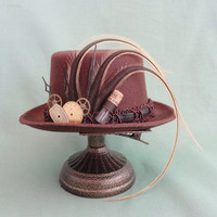 "5"" Mini Steampunk Hat, Top Hat Fascinator, Hairpiece, # 888"