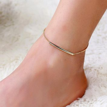 U Tube Gold Color Ankle Bracelet
