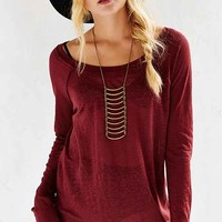 Chaser Open Neck Long-Sleeve Raglan Top-