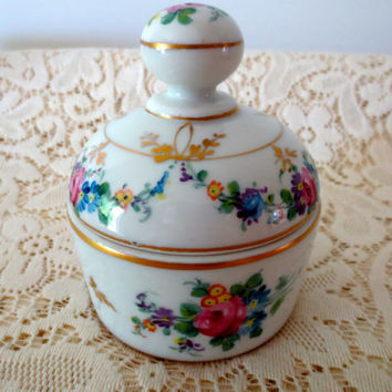 French Porcelain Floral Trinket Box.  Ring Box, Jewelry Box, Jewelry Holder.  Made in France.  French Cottage. Gift Box
