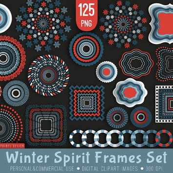 125 Winter Spirit Frames Clipart, blue red white, winter clipart, Christmas frames labels tags clipart clip art, xmas clipart, cards