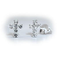 Amadis Cross Earrings with Crystals, 925 Sterling Silver