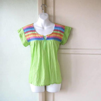 Lime Green Peasant Top w/ Rainbow Stripes; Women's Small Scoopneck Cap Sleeve Bohemian Cotton Blouse; U.S. Shipping Included