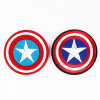 """2 Pieces/Lot Captain America Size 2.15"""" Inch Super Hero Comic Avenger Embroidered Iron/sew on Patch Ready Cool Patch"""
