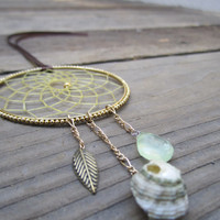 Gold and Mint Dream Catcher-Car