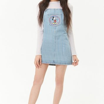Striped Mickey Mouse Denim Overall Dress