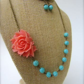 Flower Necklace Statement Necklace Coral Wedding Coral and Turquoise Bridesmaid Jewelry Floral Necklace Summer Wedding