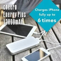 cheero Energy Plus 12000mAh - including 2A USB AC adaptor (Type A plug) - External Battery Portable Dual USB Charger Power Bank. Fast Charging, High Capacity, Ultra Compact. For iPhone 6 5S 5C 5 4S, iPad Air mini, Galaxy S5 S4 S3, Note 3 4, Tab 4 3 2 Pro,