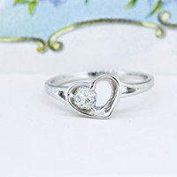 European Cut Diamond Ring | Unique Engagement Ring | Antique Diamond | Heart Ring | 14k White Gold Engagement Ring | Custom Ring | Size 8.25