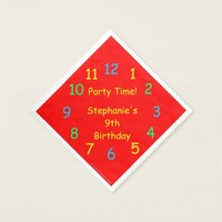 Party Time Paper Napkins, 9th Birthday, Red Paper Napkin