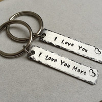 I love you more keychain, Silver key chain, Personalized, Couples keychain, Customized keyring, LOVE,  key chain, matching couples keychain