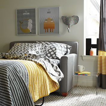 Kids Bedding: Grey Yellow Peep Bedding | The Land of Nod