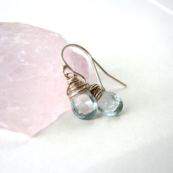 Silver Wire Wrapped Earrings in Pale Blue Tear Drop Aquamarine