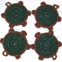 Nylon Turtle Pot Scrubbies - Set of 4 - Pine Tree Green and Chocolate Brown