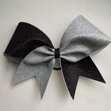 Black and silver glitter cheer bow.