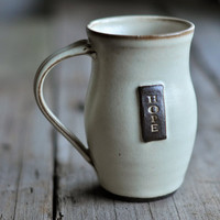 Cream Hope Coffee Mug  Wheelthrown by JustWork on Etsy