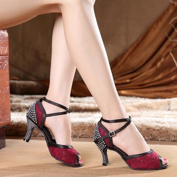 Diamond Burgundy Women's Latin dance shoes